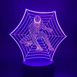 Spiderman Optical 3D Night Light Lampe LED décoration de la chambre lumière, 7 types de changement de couleur tactile veilleuse, utilisé pour la décoration de la chambre de bébé cadeaux pour enfants