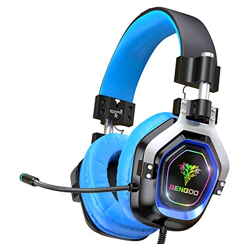 BENGOO Gaming Headset Headphones for PS4 Xbox One PC【4 Speaker Drivers】 Over Ear Headphones with RGB LED Lights, 45° Adjustable Soft Memory Earmuff, 720° Noise Canceling Microphone for Xbox 360 Kit