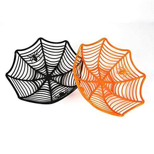 DAYUZU Decoración de Halloween 1 Frutero de Halloween Telaraña Canasta de Dulces Negro Naranja Plástico Decoración de Halloween Artículos de Fiesta