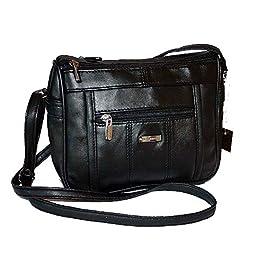 Petit sac à main en cuir d'agneau Avec bandoulière Noir Pour femme 23 x 18 cm