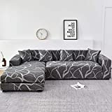 WXQY Funda de sofá de Sala de Estar Chaise Longue, en Forma de L Necesita Comprar 2 Juegos, Funda de sofá elástica Funda de sofá de Esquina en Forma de L A23 2 plazas