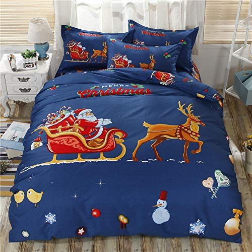 Fadaseo Cotbed Duvet Cover Set Double 200 X 200 Cm 3D Printing Cartoon Santa Sleigh Car 3 Pieces Bedding Set. Easy Care And Super Soft Cotton Design.With 2 Pillowcases Hypoallergenic