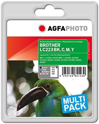 AgfaPhoto APB223SETD nachgefüllt Tintenpatronen 4er Pack, Schwarz, Cyan, Magenta, Gelb