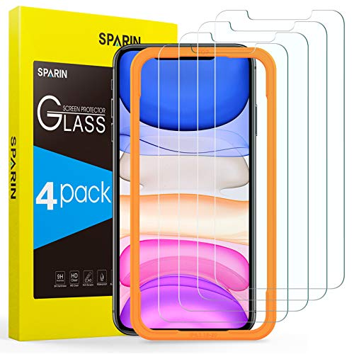 SPARIN Screen Protector Compatible with iPhone 11 / XR 6.1 inch, 4 Pack Tempered Glass with Alignment Frame