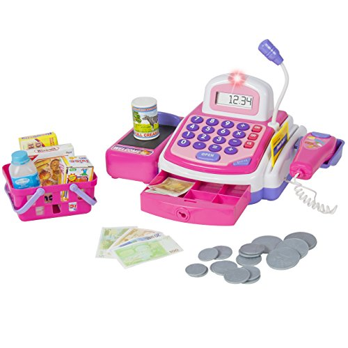 Best Choice Products Kids Educational Cash Register Play Set w/ Scanner, Calculator, Mic, Pink