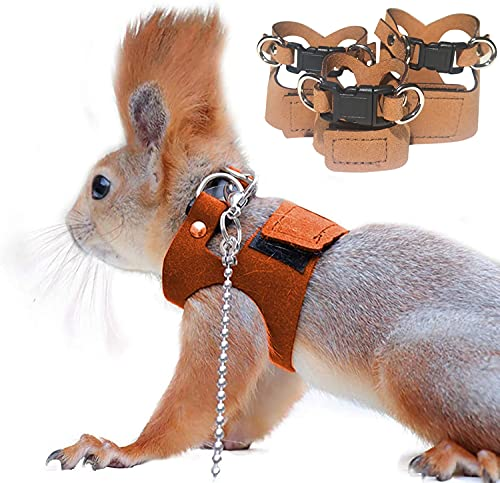 HAICHEN TEC 3 Pack Squirrel Harness and Leash Set - Adjustable Traction Rope Strap Anti-Biting Chain,Small Animal Training Walking Vest Leash for Squirrel Gerbil Chinchilla Rat (3 Pack (S/M/L),Brown)
