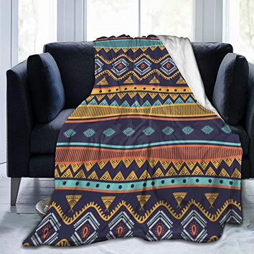 Qing_II - Manta de forro polar, diseño tribal antiguo, a mano, sin costuras, diseño de rayas, símbolos étnicos, de franela, para invierno, suave, cálida, manta de 127 x 165 cm para cama, sofá, silla de oficina