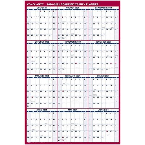 Academic Erasable Calendar 2020-2021, At-A-Glance Wall Calendar, 32