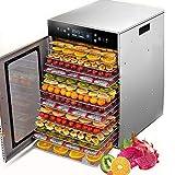 DéShydrateur Alimentaire à 16 Couches, SéChage Uniforme à 360 °, Micro-Ordinateur Tactile Infrarouge, RéGlable De 30 à 90 ° C, Minuterie De 24 Heures, Domestique Et Commercial