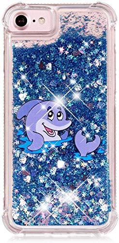Compatibile con iPhone 6 Plus / 6S Plus Funda Bling Cristal,Brillante Liquido Arenas Movedizas Funda & Ultrafino Transparente TPU Silicona Carcasa Full Body Anti-caída Funda Protección Case,Delfín