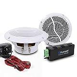 E-Audio - Juego de altavoces Bluetooth inalámbricos de techo para baño con amplificador resistente al agua