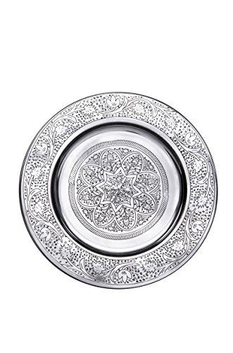Orientalisches rundes Tablett aus Metall Sidra 30cm | Marokkanisches Teetablett in der Farbe Silber | Orient Silbertablett silberfarbig | Orientalische Dekoration auf dem gedeckten Tisch