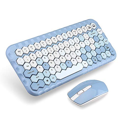 Docooler Honey Keyboard Mouse Combo Wireless 2.4G Mixed Color 83 Key Mini Keyboard Mouse Set with Honeycomb Key Caps for Girl Blue