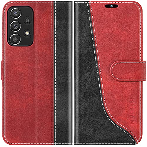 Mulbess Funda para Samsung Galaxy A72, Funda con Tapa Samsung Galaxy A72, Funda Samsung Galaxy A72 Libro, Funda Cartera para Samsung Galaxy A72 Carcasa, Vino Rojo