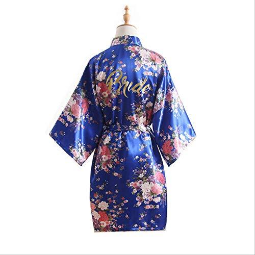 XFLOWR dames zijde zomer kersenbloesem bronzing poeder bruiloft bruid zijde satijn nachtkleding kort kimono bruidsjurk robe nachtkleding one size sieraden blauw