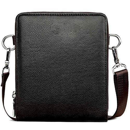 Kühlregal High Capacity Herren-Leder-Umhängetasche Messenger Bag Small Sling Schultertasche Brown