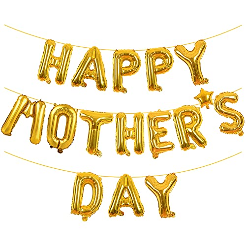 Happy Mothers Day Balloons Banner Gold Glitter Mother#039s Day Balloons Mothers Day Decoration Supplies Mothers Day_Gold