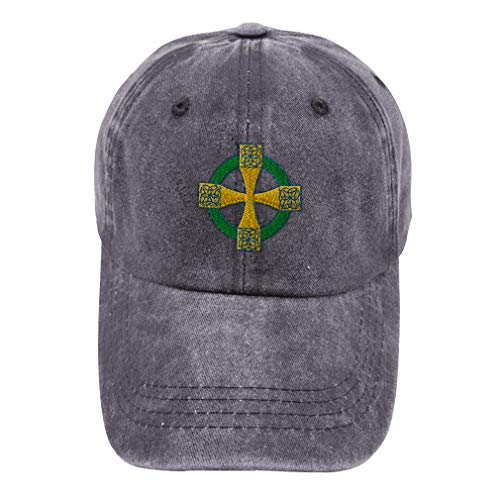 Vintage Washed Hat Celtic Cross B Embroidery Cotton Dad Hats for Men & Women Buckle Closure Grey Design Only