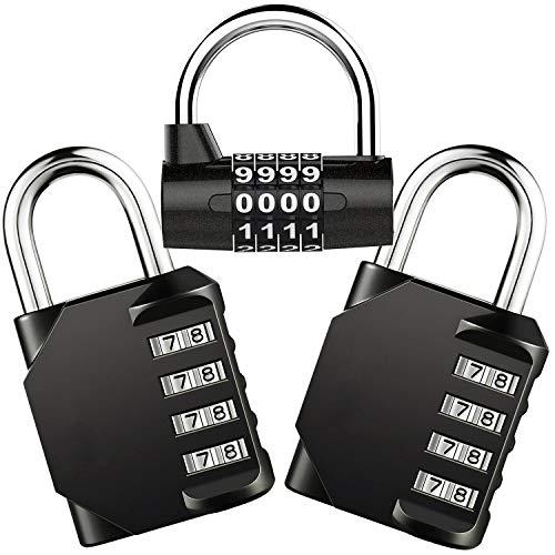 Cadenas à Combinaison de 4 Chiffres,Gvoo 3 Pack Cadenas à Code Cadenas à Combinaison Étanche et Antirouille de 4 Chiffres Serrure pour Familles, Ecoles,Entreprises,Casiers et Autres Lieux