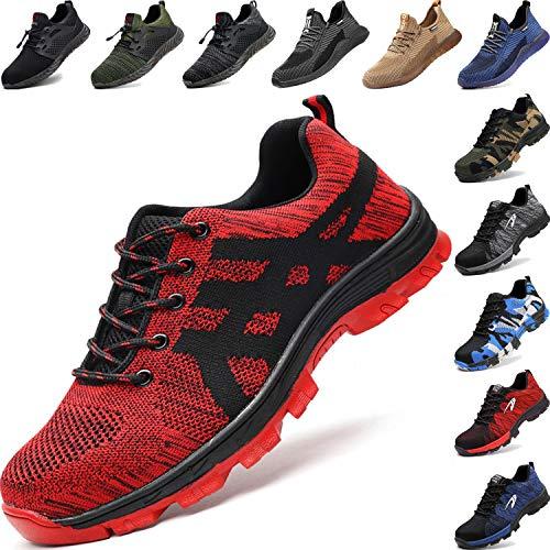 BAOLESEM Sicherheitsschuhe Herren Arbeitsschuhe Damen S3 Sportlich Leicht Atmungsaktiv Schutzschuhe Stahlkappe Schuhe, 06 Rot, 41 EU