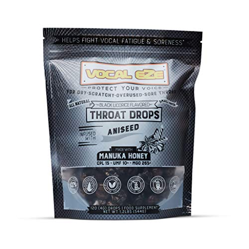 Vocal Eze Manuka Honey Aniseed UMF 10+ (MGO 265+) Menthol-Free Cough Drops (120) | Lozenges to Relieve Sore, Hoarse, Fatigue, Dryness of Throat | Voice Support, All Natural and Organic Ingredients