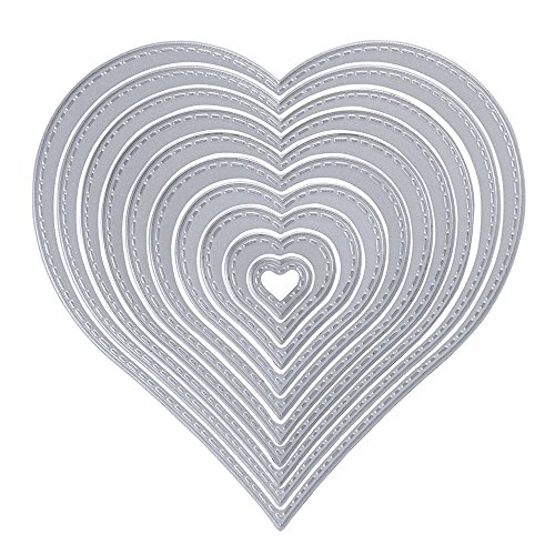 10pcs Troqueles Scrapbooking Corte Corazón Cutting Die Plantillas Estarcir de Metal para Tarjeta Papel Álbum Scrapbook DIY Manualidades
