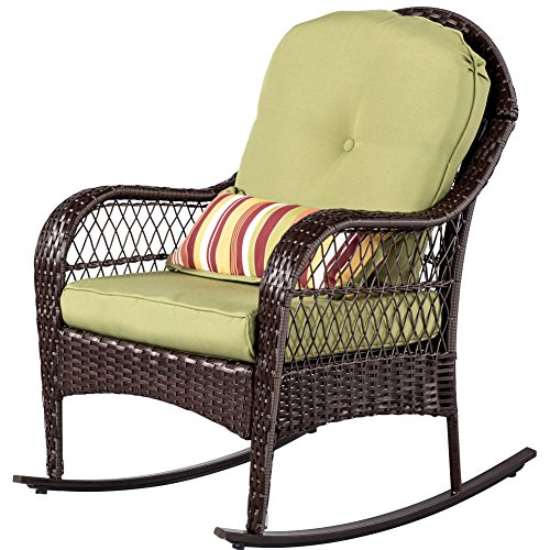 Sundale Outdoor Rocking Chair, Wicker Rattan Patio Chairs with Olefin Cushion and Pillow, All-Weather Porch Furniture for Outside - Steel Frame, Brown, Green