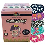 Ortopad Bamboo Eye Patches for Girls, 50/Box (Regular Size), Ghosts(Glow-in-The-Dark)/Owls Pack