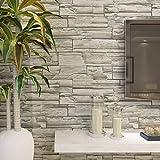 HANMERO Murales de pared papel pintado imitación ladrillo piedras papel de pared dormitorios/salón/hotel/fondo de TV/color color gris,0.53M*10M