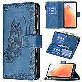 Hancda Hülle für Xiaomi Mi 10T / Xiaomi Mi 10T Pro Handyhülle Tasche Leder Case mit Kartenfach Geldfach Geldbörse Brieftasche Schmetterling Cover Klappbar Magnet Flip Handytasche,Blau