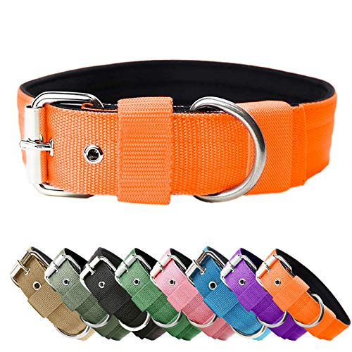 Heavy Duty Tactical Dog Collar - 1.5' Width Military Durable Thick Nylon with Adjustable Metal D Ring & Buckle Working Training K9 Collar for Medium Large Dogs (Orange, M(17'-20'))