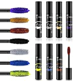 Waterproof Color Mascara, COOSA 7 Colors Cosmetics Professional Mascara Eyeliner Charming Longlasting Mascara Set for Eyelash Eye Makeup-7PCS