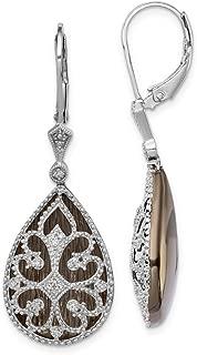 Solid 925 Sterling Silver Diamond Filigree Teardrop Leverback Earrings (16mm x 41mm) (1/8ct.)