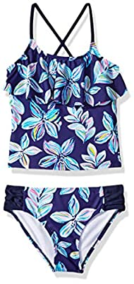 Kanu Surf Girls' Big Flounce Tankini Beach Sport 2-Piece Swimsuit, Charlotte Navy Floral, 14
