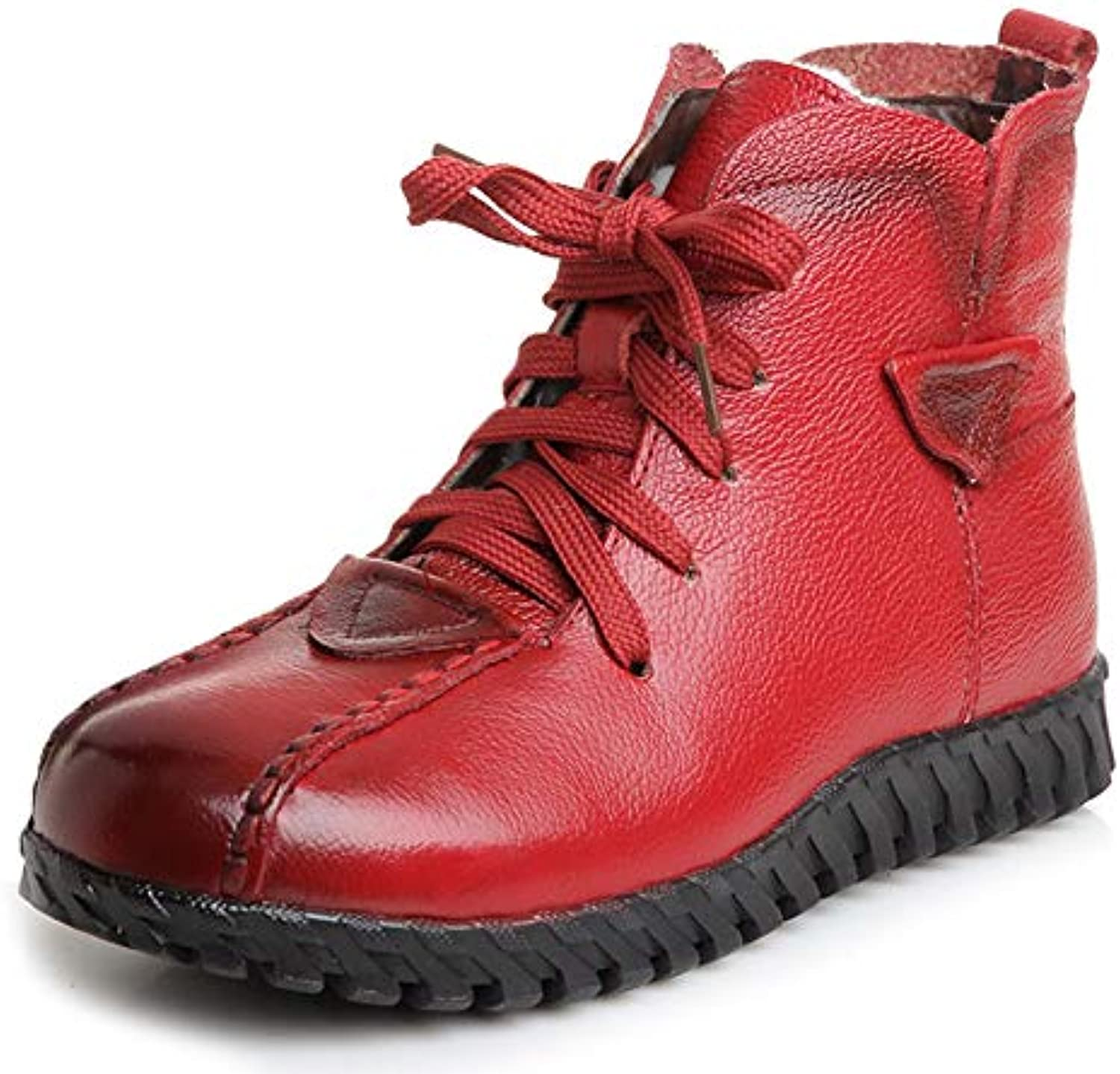 T-JULY Women Snow Boots Genuine Leather Thick Wool Lace Up Flat Ankle Boots Winter Bottine Femme Warm shoes