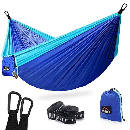 AnorTrek Camping Hammock, Super Lightweight Portable Parachute Hammock with Two Tree Straps (Each Two Loops), Single & Double Nylon Hammock for Camping Backpacking Travel Hiking (Blue&Sky Blue)