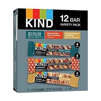 KIND Nut Bars Favorites Variety Count 1.4 Ounce 12 Count Dark Chocolate Nuts and Sea Salt Peanut Butter Dark Chocolate Caramel Almond and Sea Salt
