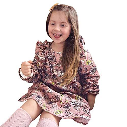 Julhold kleine kinderen baby meisjes elegant leuk lange mouwen bloemenprint ruches casual dunne prinses jurk 0-4 jaar