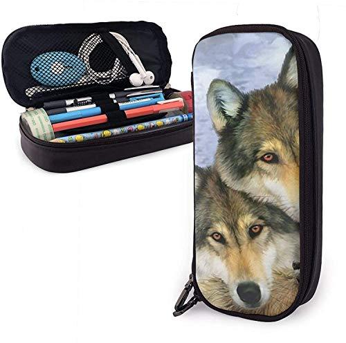 Student Alaska Wolf Hund Familie Schreibwaren Tasche Multifunktionale Schreibtisch Organizer Tasche Einfache Schreibwaren Tasche Mode Reißverschluss Tasche