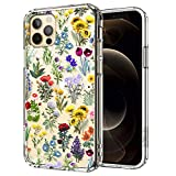 MOSNOVO Cute Wildflower Floral Pattern Designed for iPhone 12 Pro Max Case 6.7 Inch,Clear Case with Design Girls Women,TPU Bumper with Protective Hard Case Cover