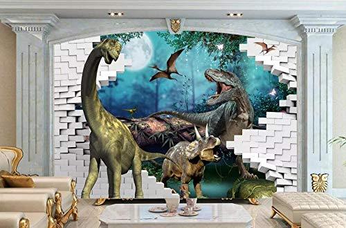 papel pintado 3D personalizado Dinosaurio Dibujo Animado Pared De Ladrillo dormitorio cocina 3D empapelar Fotomural Decoración damasco murales decoración de paredes moderna