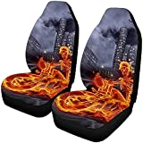 Burning Riding A Motorcycle Front Seat Seat Fundas Set of 2, Car Front Seat Cushion Fit Car, Truck, Suv Oro Van 14-17IN
