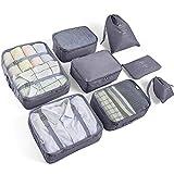 AMAYGA 8pcs Bolsas De Almacenamiento De Viaje a Prueba De Agua Ropa Embalaje Cubo Organizador De Equipaje Bolsa, Embalaje de Viaje Bolsas de Ropa Zapatos, Cosméticos Accesorios (Gris)