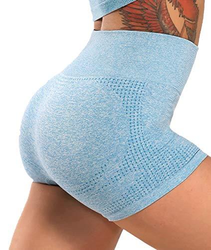 FITTOO Leggings Pantalones Cortos Deportivo Cortos Correr Gimnasio Mujer #3 Azul Cielo...