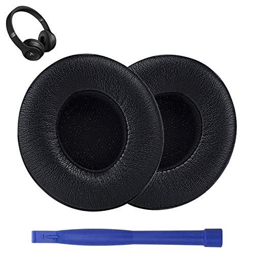 Ersatz Ohrpolster Kompatibel mit Drahtlosen Beats Solo 2 & Solo 3 On-Ear-Kopfhörern mit Weichem Proteinleder/Starkem Klebeband (Schwarz)