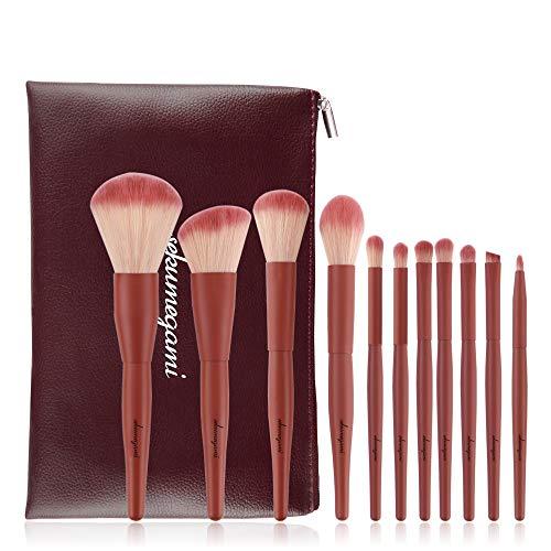 Professionelle Makeup Pinsel Set 11 Stück Rot Kosmetik Pinsel Augenpinsel Lidschattenpinsel Make Up Pinselset mit Roll Up PU Leder Tasche