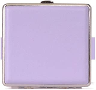 FRDYB Cigarette Case, Stylish Metal PU Leather Cigarette Case, Cigarette Case Can Hold 20 Cigarettes, The Smokers, Multi-Color Supply (Color : Purple, Size : 9.7 * 9.4 * 1.9cm)