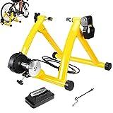 GSTARKL Entrenamiento Bicicleta Rodillo, Bicicleta Fija Soporte estacionario para Montar en el Interior, Portátil, Pincho de liberación rápida y Bloque Elevador de la Rueda Delantera Incluido,Yellow