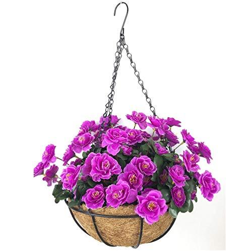 Yosposs Fleurs Artificielles à suspendre paniers Kz9524-w771 extérieur artificielle Rouge Azalée Bush Fleur Patio pelouse Jardin Panier à suspendre avec chaîne Pot de fleurs, Jaune extérieur/intérieur Pour Maison/décoration de jardin