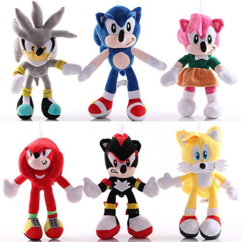 Nonbrand 6pcs/Set 11'' Sonic The Hedgehog Plush Toy Sonic/Shadow/Silver The Hedgehog Doll Sonic Shadow Tails Amy Rose for Child Animals Toys Gift